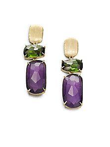 """18K Gold Filled 1.65/"""" Earrings Sapphire Topaz Gems Triangle Teardrop Dangle Gift"""