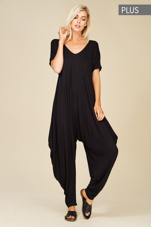 a49bce85715 Plus Size Roll Up Sleeve Jumpsuit Style  J8051X  16.00 Plus size knit  jumpsuit featuring solid