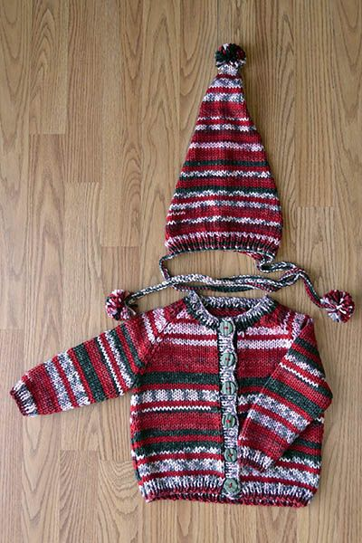 Elfkin Cardigan and Hat Set Pattern for baby, toddler, and child ...