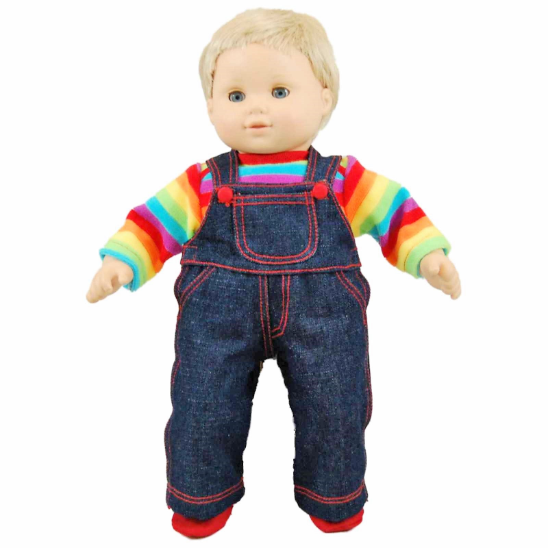 The Queen S Treasures 15 Inch Baby Doll Clothes Twin 4pc Denim Overalls Rainbow Shirt Bitty Shoes Compatible With 15 Inch American Girl Bitty Baby Bitty T In 2020 Baby Doll