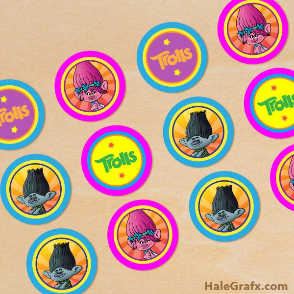 FREE Printable Trolls Cupcake Toppers Birthday Party Troll Cupcakes 5th