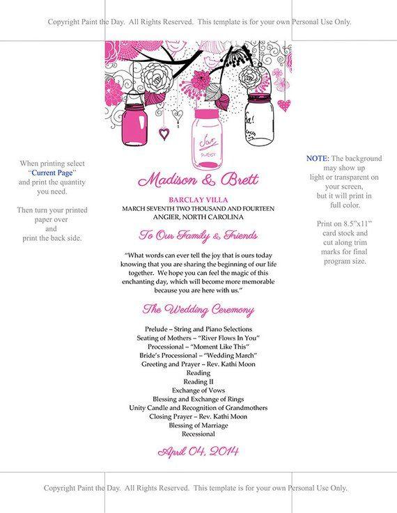 Mason Jar Wedding Program Microsoft Word Template Hot Pink Black