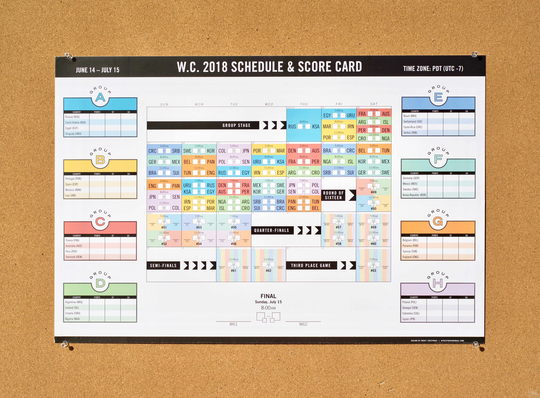 World Cup 2018 Schedule Poster / Calendar Wall Chart