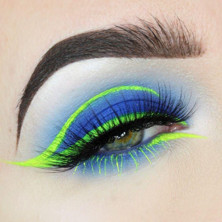 maquillaje neon-delineador-verde-sombras-azules maquillaje