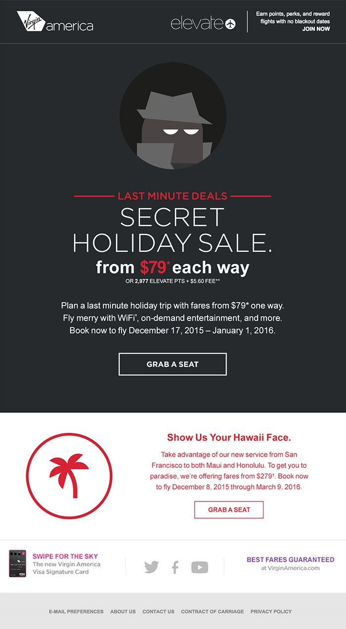 This fun and minimal holiday email from Virgin Airlines uses a dark ...