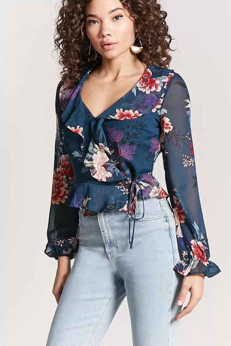 615be9bbe5bdcd Product Name Floral Ruffle Self-Tie Top