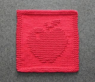 This is a knitting pattern for an APPLE dishcloth or wash cloth. PDF format.