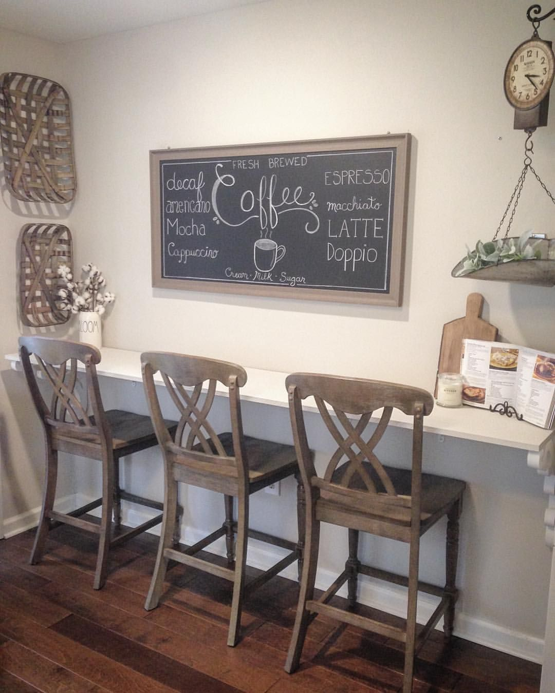 Farmhouse Kitchen Bar Stools Coffee Chalkboard Classy Kitchen
