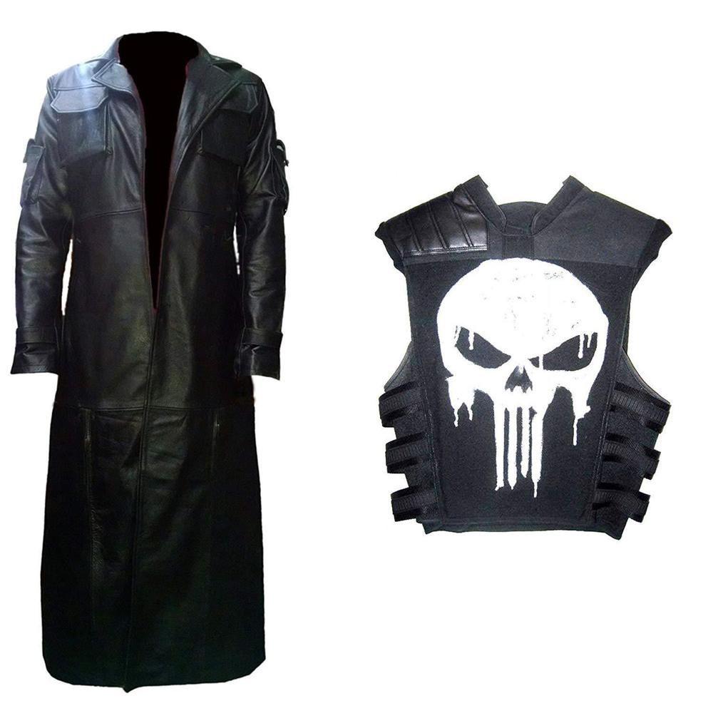 Men S Punisher War Zone Thomas Jane Frank Castle Leather Coat Tactical Vest Fashion Clothing Shoes Accessories Leather Trench Coat Vest Coat Trench Coat [ 1000 x 1000 Pixel ]