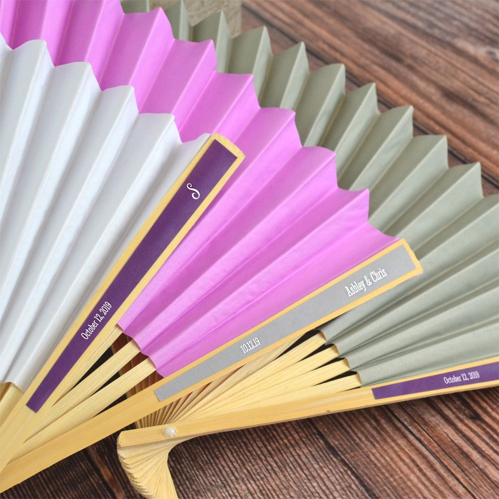 Personalized Paper Label Folding Hand Fan Favors | Pinterest ...