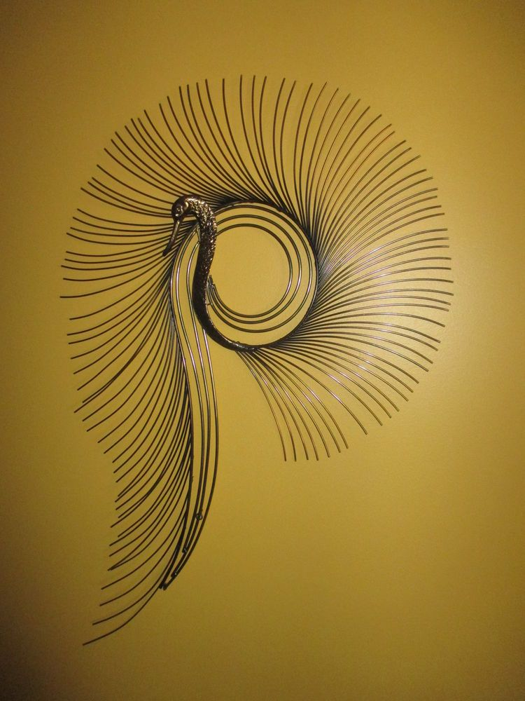 Vtg Mid-Century Curtis Jere Metal Wall Art SUNBURST PEACOCK ...