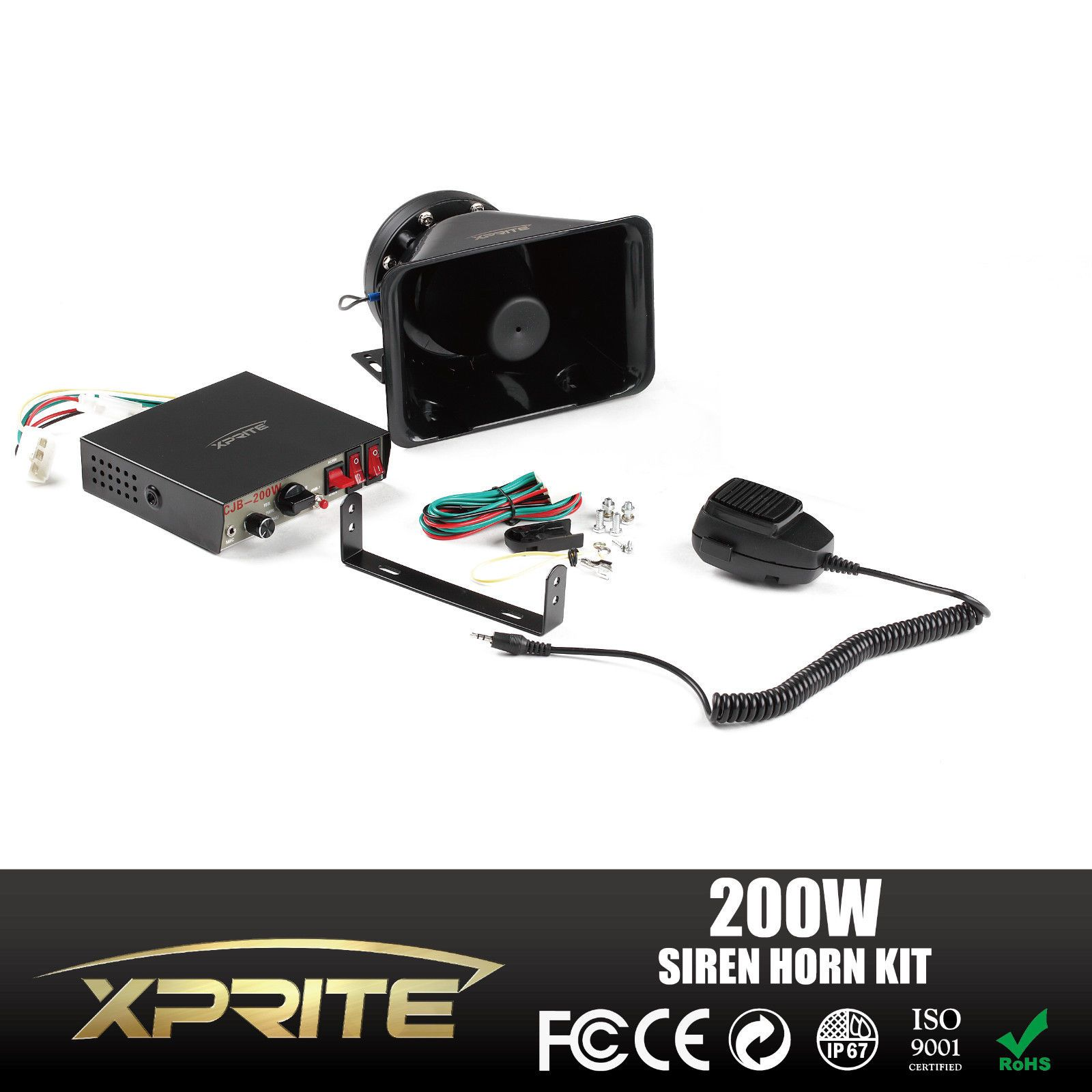 Xprite 200w 8 Sound Loud Car Warning Alarm Police Fire