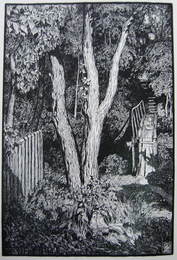 Adolf Zdrasila (1868-1942). Landscape with bridge. 1904. (wood engraving)