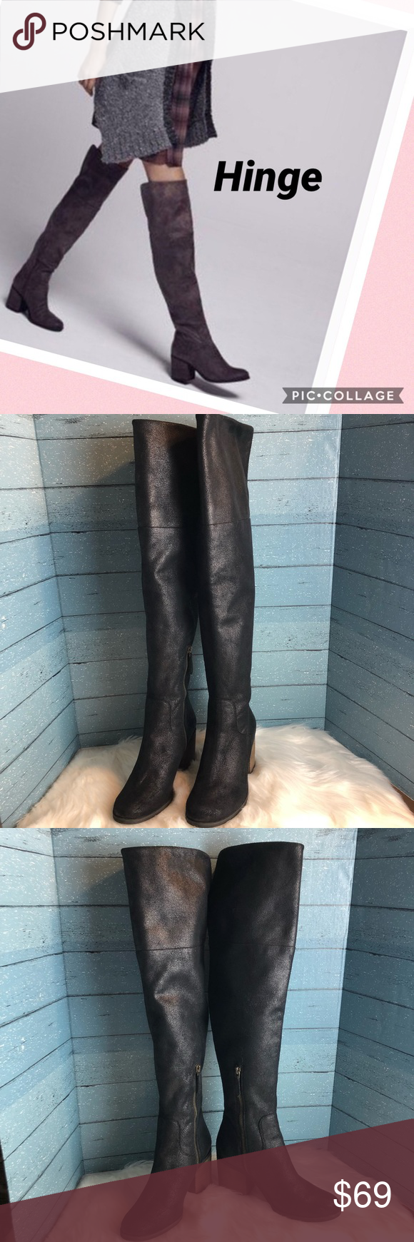 Hinge Canton Black Over the Knee Boot
