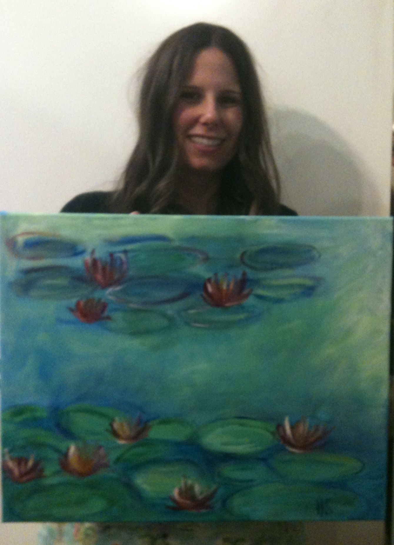 After Monet s Waterlilies adult acrylic painting classes in