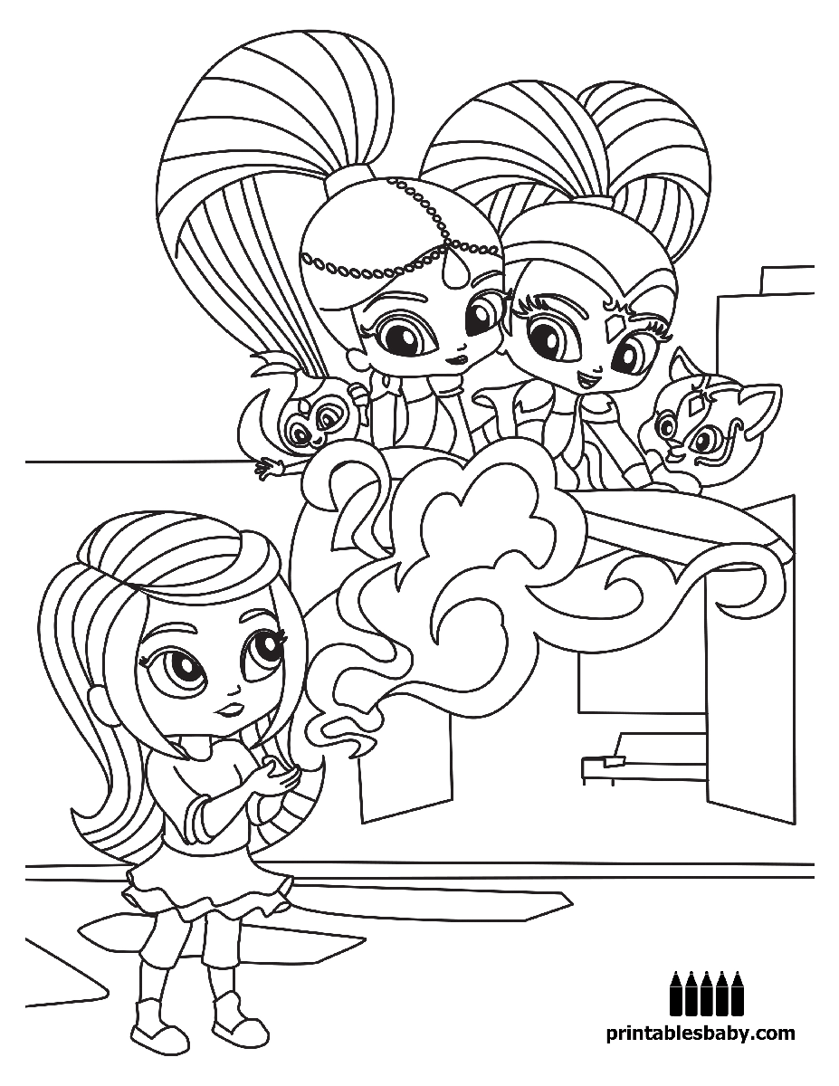 Shimmer and shine printables baby free cartoon coloring pages