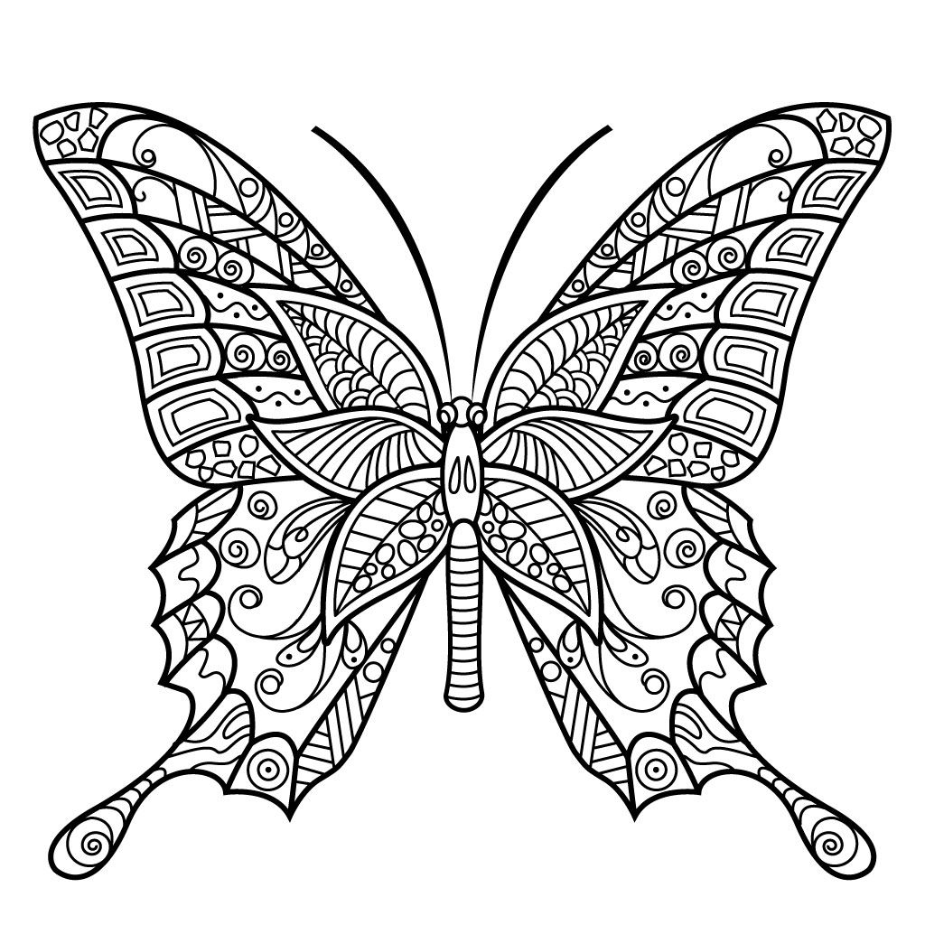 Adult Butterfly Coloring Pages Stensiling orPrintable