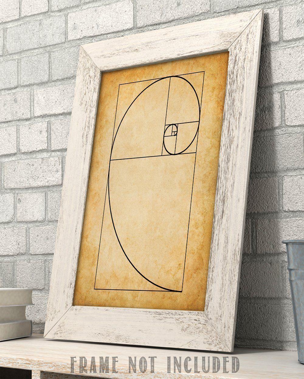 Fibonacci Spiral - 11x14 Unframed Art Print - Great Gift for Artists ...
