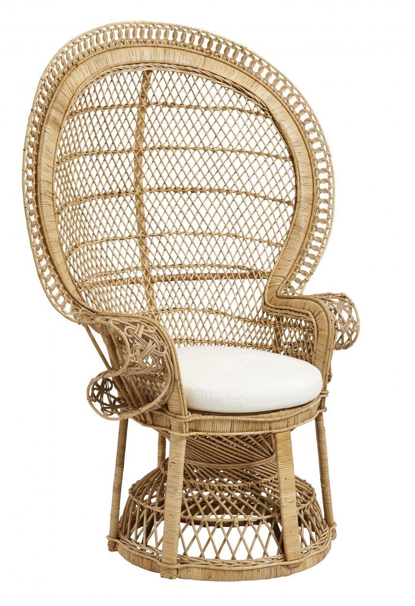 Large Rattan Chair Natural W Seat Pad Nordal Eu