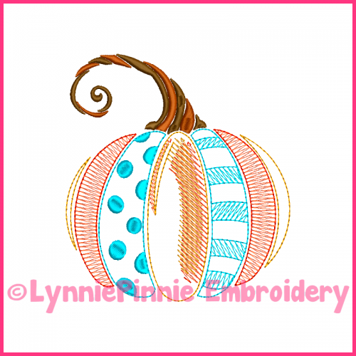 Vintage Fancy Pumpkin 2 ColorWork Sketch Embroidery Design