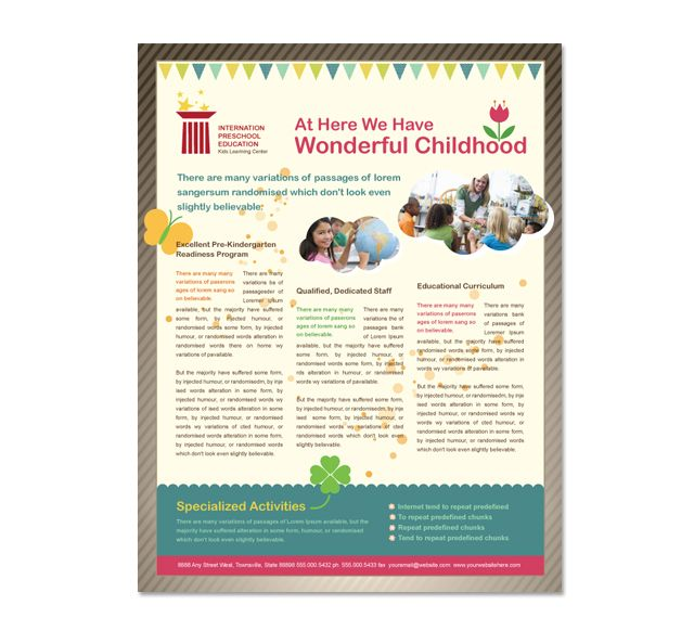 Preschool Brochure Template Preschool Flyers Design All Templates