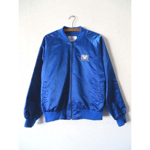 80s Vintage Disney Channel Bomber Jacket Mickey Mouse Satin Coaches 65 Liked On Polyvore Featurin Blue Bomber Jacket Bomber Jacket Vintage 80s Jacket