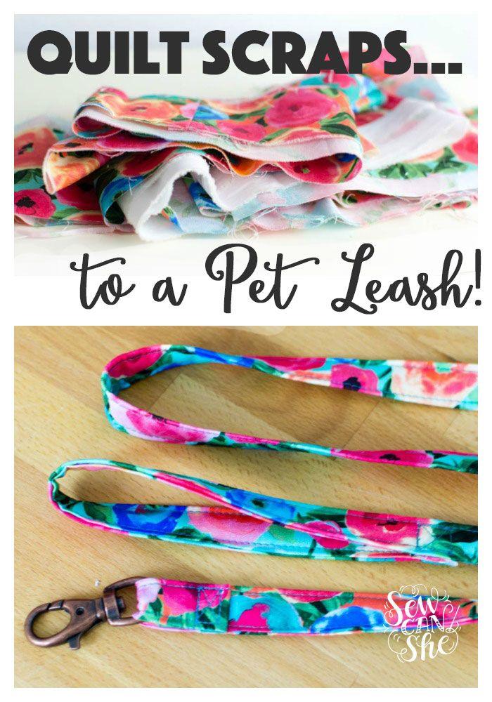 Use your leftover quilt scraps to make a cute DIY pet leash!