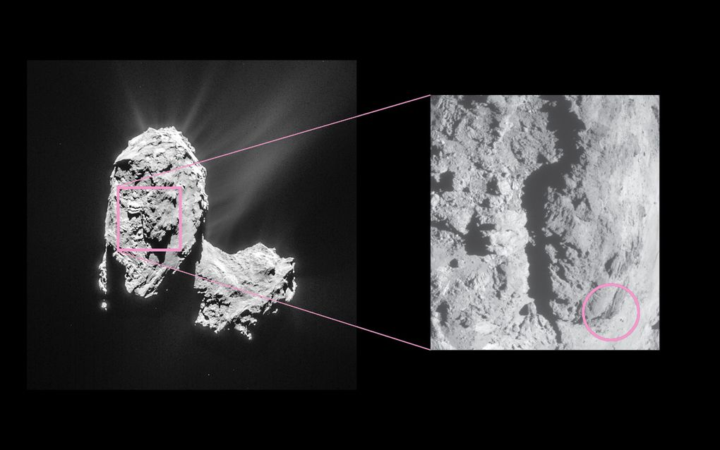 Rosetta space probe sees bright flares landslide on comet
