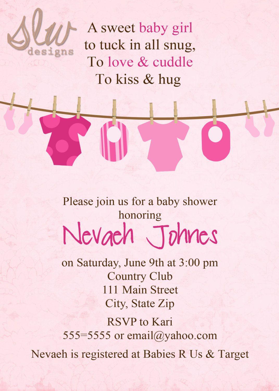 Clothes Line Boy Or Girl Baby Shower Invitation Digital Design