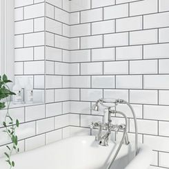 White Metro Tiles For The Bottom Half Of Wall Or Entire Bath Shower Grey Grout Paint Above Bevel Gloss Tile 100mm X 200mm