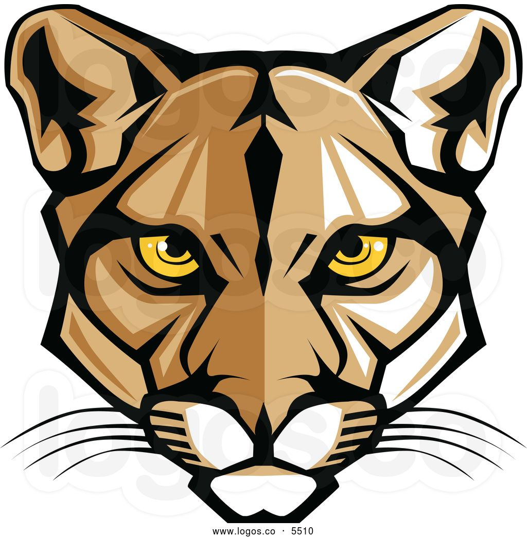 royalty free vector of a logo of a mountain lion cougar face by rh pinterest co uk Panthers Logo High School Mascot Panther