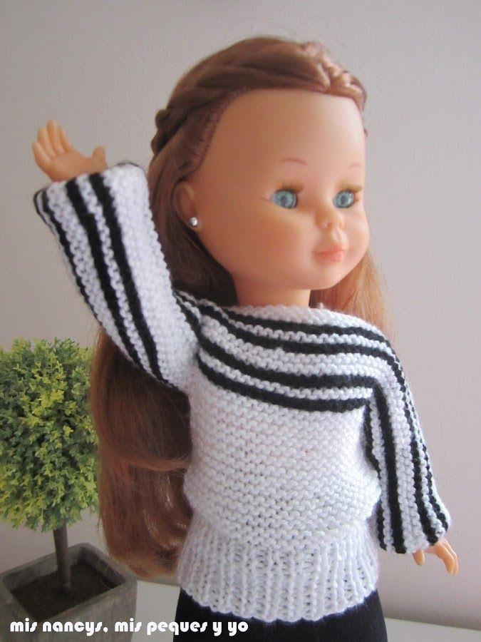 Tutorial Jersey de lana blanco y negro para Nancy (patrón gratis) 01df6fb883d6