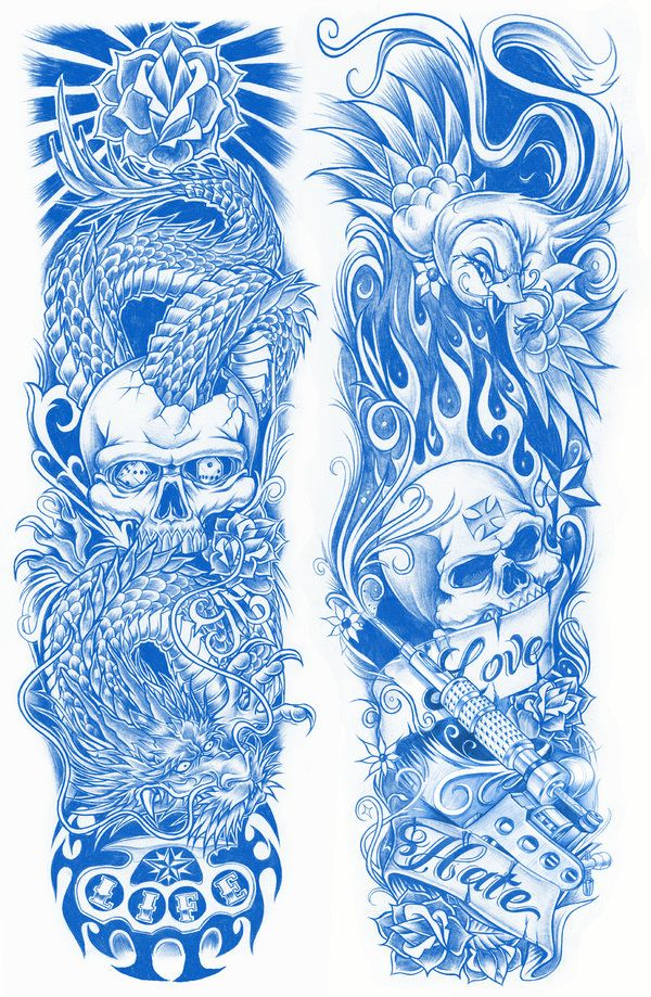 Tattoo Sleeve Sketches: TATTOO SLEEVES By BROWN73.deviantart.com On @deviantART