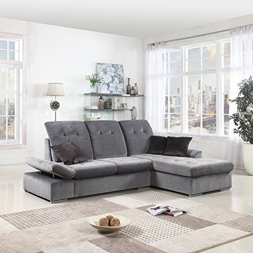 Classic Large Brush Microfiber L Shape Sectional Sofa Couch With Chaise  Lounge And Adjustable Headrest (Grey / Grey)
