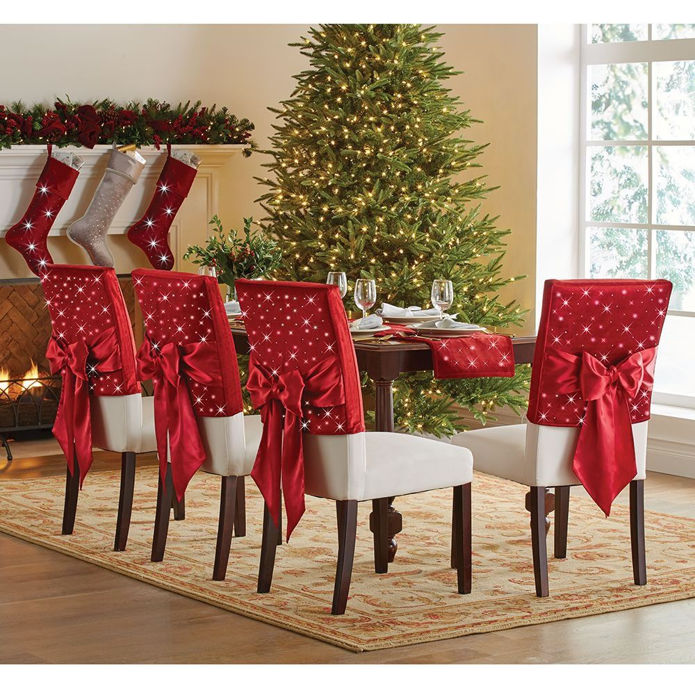 The Cordless Twinkling Chair Back Sleeves 1 Christmas Chair Christmas Apartment Christmas Decorations