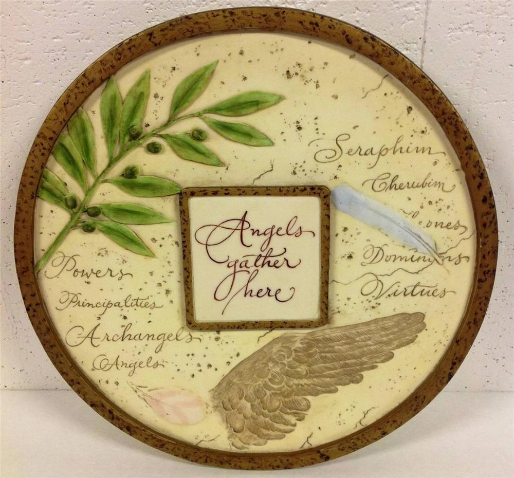 Angels Gather Here Wall Plaque Home Garden Hanging Wall Decor ...