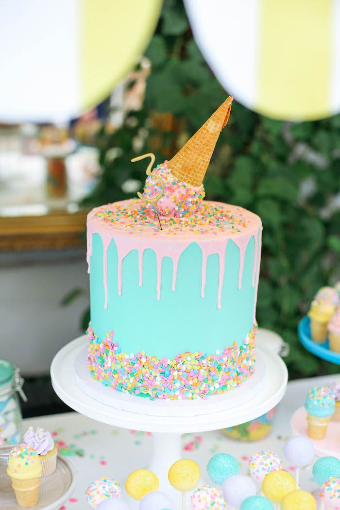 Terrific Ice Cream Inspired Birthday Party Party Cakes Ice Cream Party Cake Funny Birthday Cards Online Alyptdamsfinfo