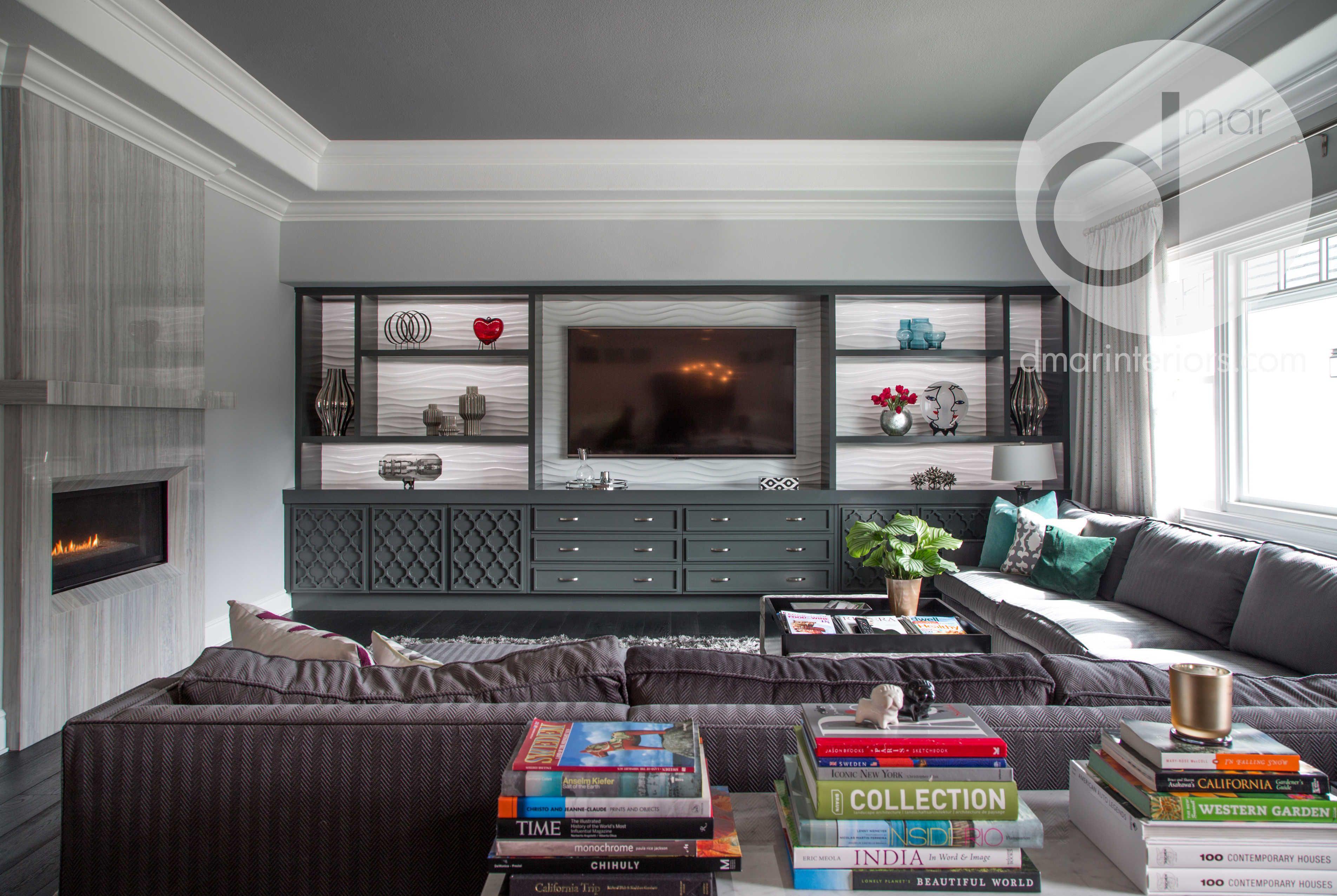 Best Family Room Built Ins Custom Grey White Stone 400 x 300