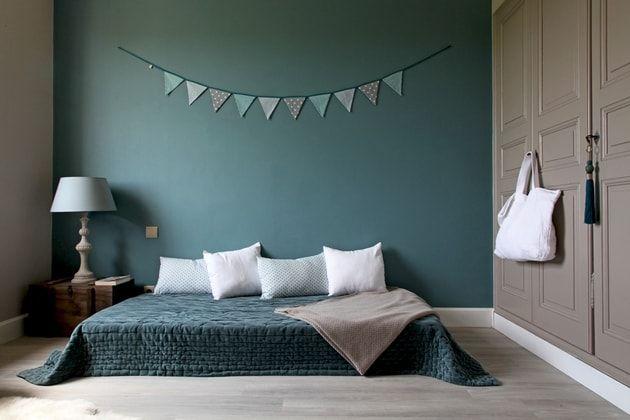 Ambiance chambre bleu-vert et camel | Déco maison | Pinterest ...