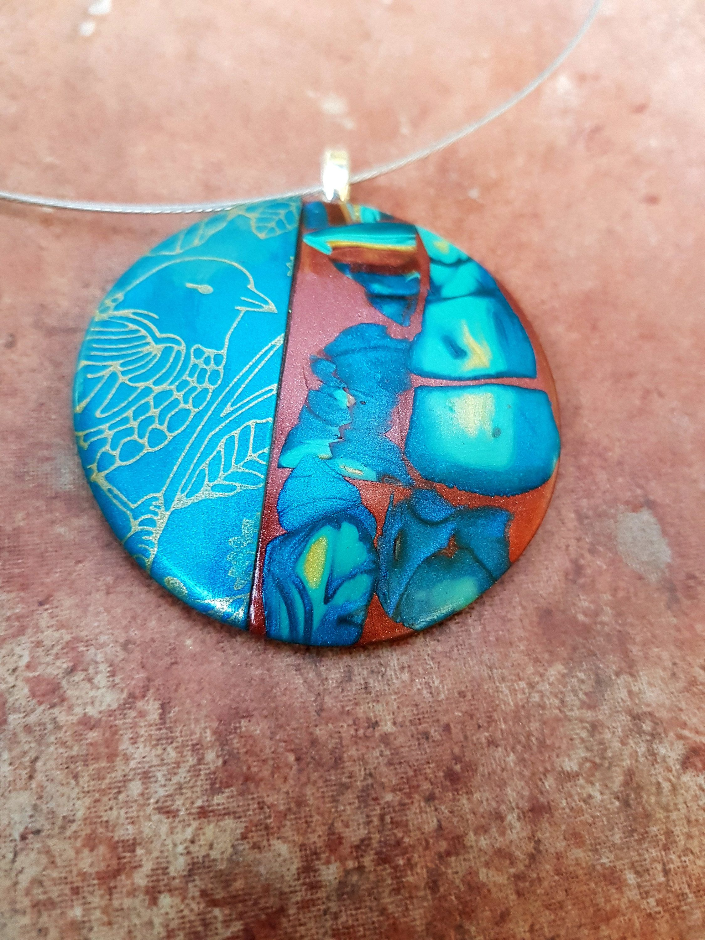 Blue polymer clay jewelry modern blue pendant necklace abstract blue polymer clay jewelry modern blue pendant necklace abstract big pendant statement jewelry aloadofball Images