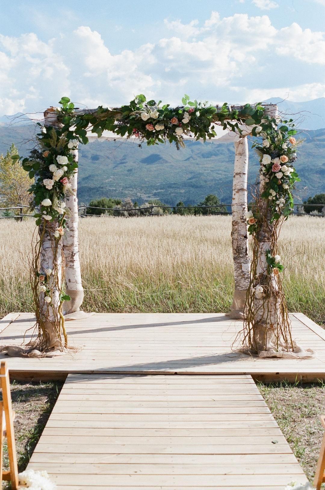 Wedding arbor, birch trees, Aspen ceremony // Leila