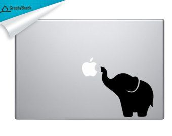 Super Cute Elephant Mac Decal Vinyl Laptop Decal Mac Stickers Elephant Decal Mac 11 13 15 15 Inch / Gift for him & Gift for her