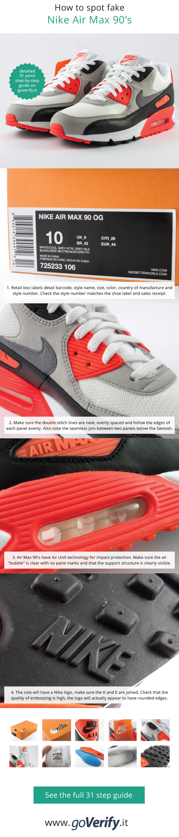 watch 287f7 515f7 How to spot fake Nike Air Max 90 OG s, go to www.goverify.it for a full 31  point step-by-step guide.