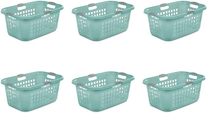 Amazon Com Sterilite 12167906 2 Bushel 71 L Ultra Laundry Basket Aqua Chrome With Titanium Handles 6 Pack Home