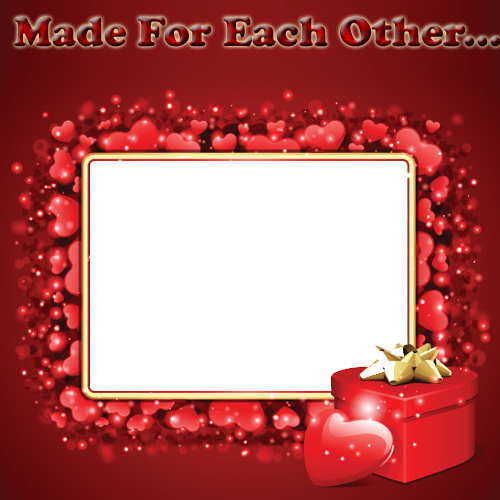 beautiful love frame with red hearts and your photoonline photo frame maker for love