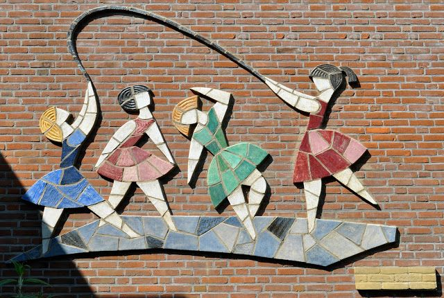 Relief by Harrie Sterk, c. 1950s. Previously located at Willibrord School, Vleuten, Netherlands.