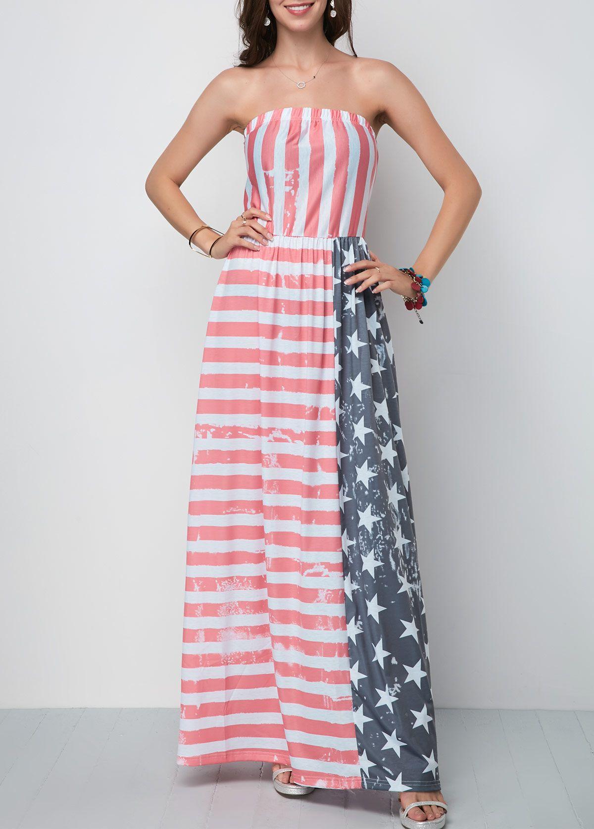 Strapless Star And Stripe Print Maxi Dress Rosewe Com Usd 28 99 Tube Maxi Dresses Maxi Dress Sale Maxi Dress With Sleeves [ 1674 x 1200 Pixel ]