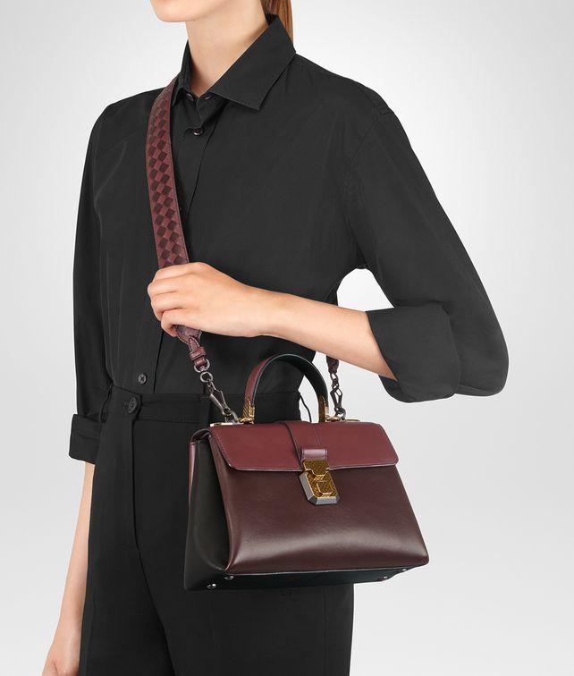8458f5eea1 BOTTEGA VENETA DARK BAROLO NAPPA SMALL PIAZZA BAG Top Handle Bag