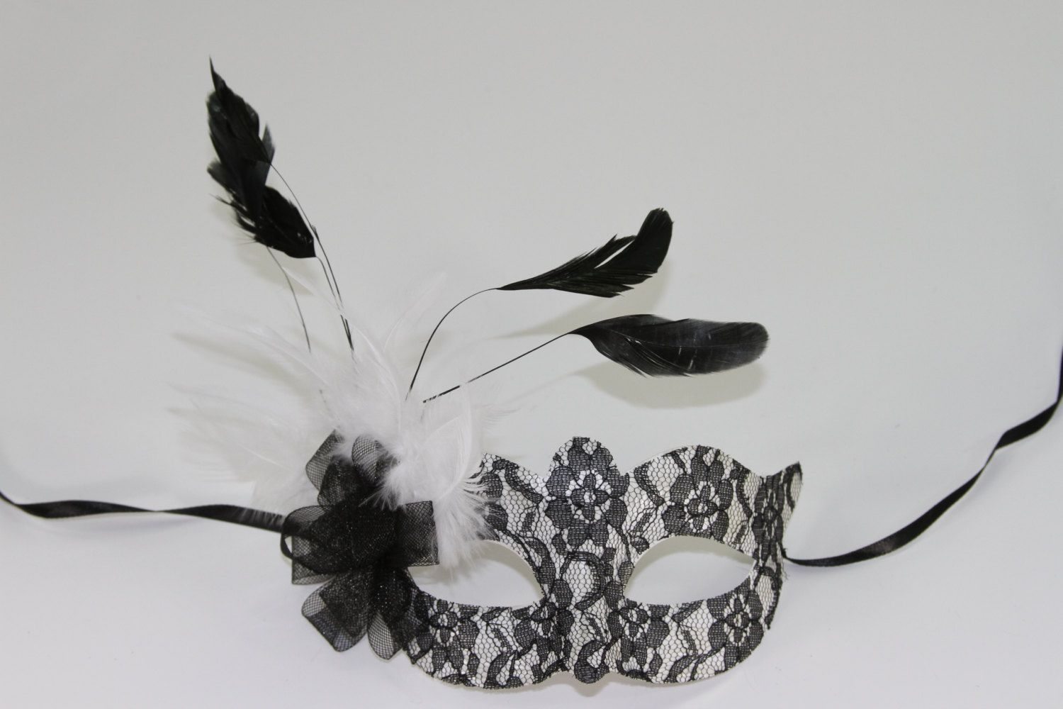 Sexy Black and White Lace Covered Masquerade Mask with Feather ...