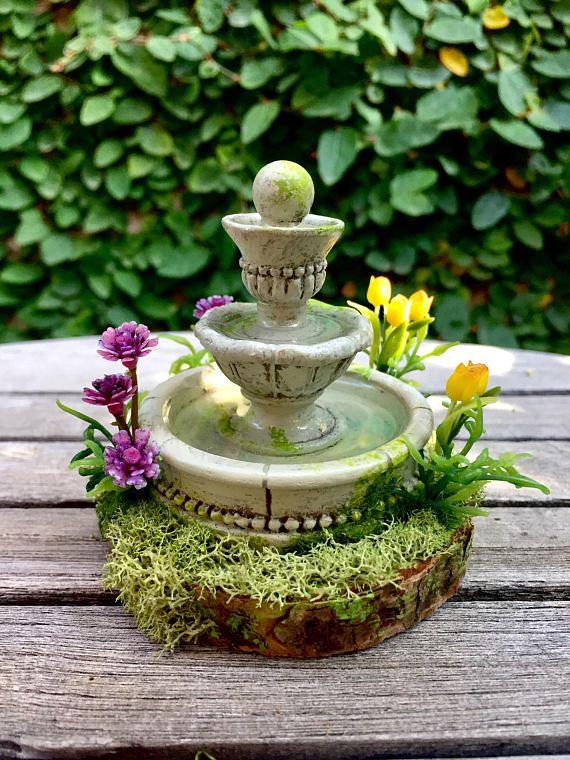 Miniature Garden Fountain Dollhouse Water Fountain Fairy